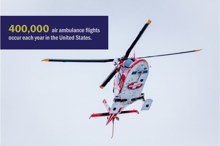 Life Flight helicopter - 400,000 air ambulance flights occur each year in the United States.